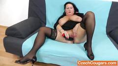 bbw, big boobs, mature, fingering, mom, spreading