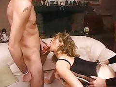 Kinky french threesome with a strap on