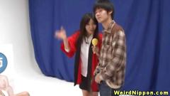 Asian sluts love to play during the game show
