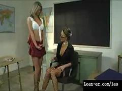 Amazing big tit teacher punishes 2 schoolgirls