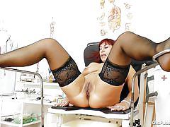 mature, redhead, doctor, gynecology, pussy exam, plastic speculum, black stockings, old pussy exam, darja x