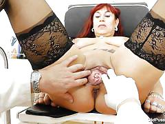 Pussy gaped and examined by her doc