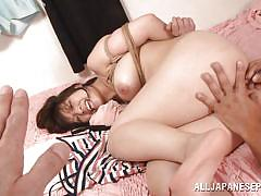hairy, brunette, tied up, mouth fuck, asian pov, pussy fingering, busty babe, rope bondage, wierd japan, all japanese pass