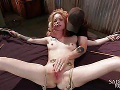 sadism, babe, redhead, tied, pussy rubbing, rope bondage, sadistic rope, kink, jeze belle