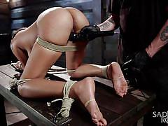 bondage, tied, vibrator, from behind, executor, tattooed babe, ball gagged, sadistic rope, kink, lila jordan