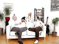 Tall blonde nanny between two horny men @dp the nanny with me