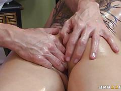 tattoo, massage, babe, rimjob, ass fingering, oiled, cock sucking, black haired, dirty masseur, brazzers network, johnny sins, casey cumz