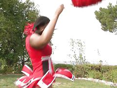 Setting eyes and cock on a chocolate cheerleader @ chocolate cheerleader camp