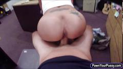 Big tits latina sits on a pawnkeepers cock