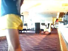 96 freeballing nylon shorts boner out at breakfast