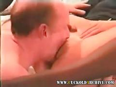 Cuckold wife and her sissy husband sucking big black cock