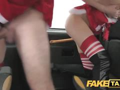Fake taxi anal elfs in santa threesome