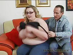 Horny bbw gobbles down this hard cock