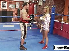 Hot busty blonde fucks her horny boxing coach