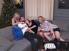 Three experienced hungry women for one horny guy