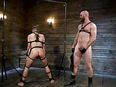 bdsm, handjob, whipping, rope bondage, from behind, anal, mouth gag, standing, bound gods, kink men, casey everett, hunter samson