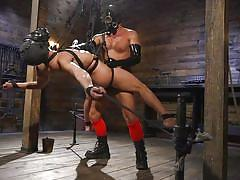 Gay bondage and hardcore sex while in gas masks