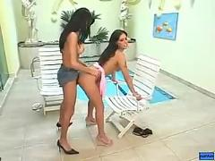 Lesbian fucking turns into tranny loving  shemale tranny ts transexual
