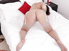 Busty big ass brunette lady doing a solo tease