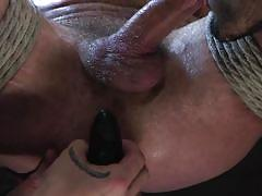 gays, rope bondage, suspended, bdsm, blowjob, handjob, blonde, threesome, anal, domination, muscular, men on edge, kink men, wesley woods