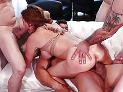 Busty brunette milf bound and fucked by horny group of men
