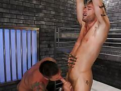 Horny gay inmate tied and tortured his cellmate