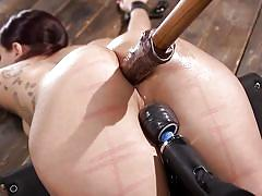 Busty tattooed brunette gets fucked in the ass in rough bdsm session