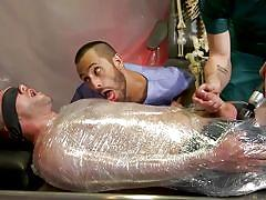 Plastic wrap, bondage and cock torture