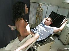 Hot shemale doctor fucks her male patient