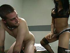Brunette shemale gives the new guy a lesson in prison
