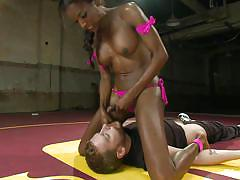 Black shemale enjoys dominating white guy