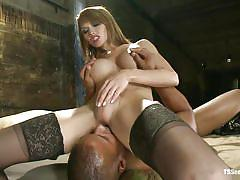 Interracial fucking with blonde hot shemale