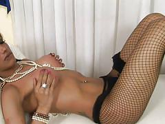 casting, solo, pantyhose, ladyboy, brunette, jerking off, hard cock, black panties, round boobs, shemale masturbation, shemale milf, studs, on couch, leticia freitas, tranny auditions, pimproll