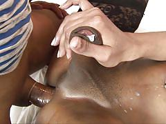 Shemale slut receiving sperm on her ass