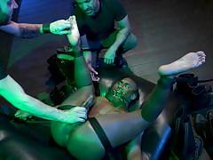 They whipped him brutally before jerking off