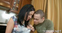 Teen brunette gets pounded in her kitchen