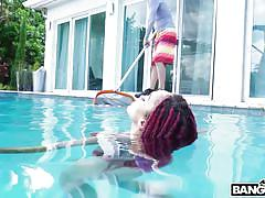 big tits, babe, ebony, interracial, outdoor, big cock, deepthroat, swimming, swimming area, red hair, brown bunnies, bangbros, tyler steel, julie kay