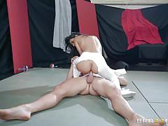 Busty wife getting nailed by the bald guy