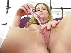Hot mature lady eve slaps her wet pussy