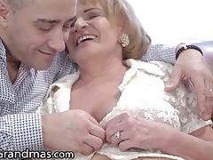 Mature gets her titties sucked and toyboy dick injected