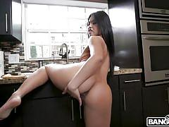babe, asian, blowjob, masturbating, bubble butt, brunette, pov, in kitchen, bang pov, bangbros, cindy starfall, brad hart
