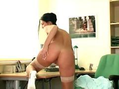 Secretary strips and masturbates