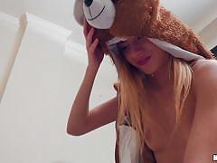 Slutty teen in a teddy bear mask gets fucked in the ass