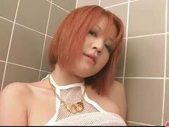Tight and busty redhead babe pussy fondling in the bathroom