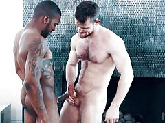 Interracial foursome with glamorous black men