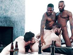 interracial, rimjob, deepthroat, muscular, anal, ebony, foursome, group sex, tattooed, bbc, noir male, aaron reese x, noah donovan, kurtis wolfe, ziggy banks