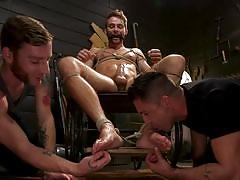 bdsm, handjob, rope bondage, big cock, threesome, toe sucking, blowjob, mouth gag, men on edge, kink men, max adonis