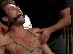 Hot gay threesome with rope bondage