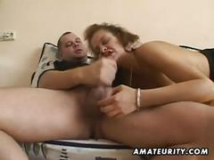 Amateur girlfriend toys and sucks with facial cumshot