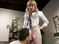Blonde tranny dominates with her cock